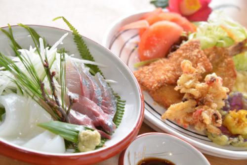 夕食(お刺身・揚げ物)
